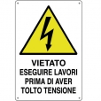CARTELLO ALL. PERICOLO LAVORI CON TENSIONE 0020.11.10 D&B